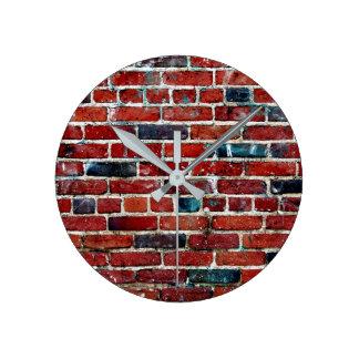 Relógio Redondo Teste padrão legal da textura da parede de tijolo