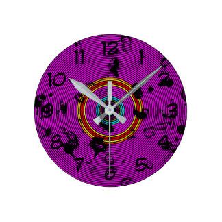 Relógio Redondo Teste padrão roxo da textura do disco do vinil
