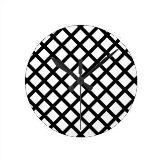 Relógio Redondo Teste padrão simples preto e branco