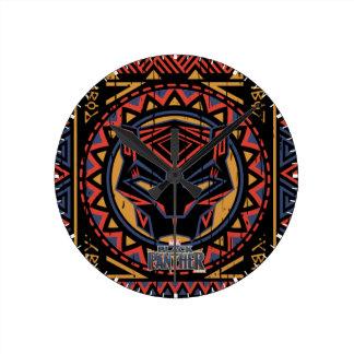 Relógio Redondo Teste padrão tribal da cabeça da pantera da