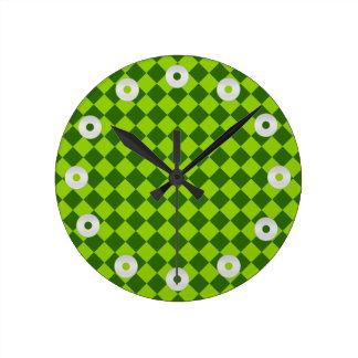 Relógio Redondo Teste padrão verde do diamante da combinação por