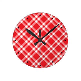 Relógio Redondo Teste padrão vermelho do guingão