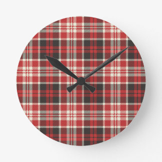 Relógio Redondo Teste padrão vermelho e preto da xadrez