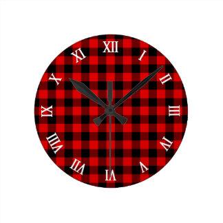 Relógio Redondo Teste padrão vermelho tradicional da xadrez da