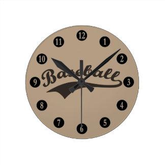 Relógio Redondo Texto do basebol