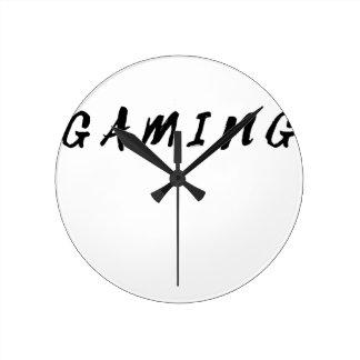 Relógio Redondo Texto limpo simples do preto do jogo do Gamer