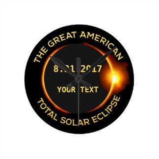 Relógio Redondo Texto total do costume dos EUA do eclipse solar