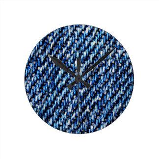 Relógio Redondo Textura de calças de ganga