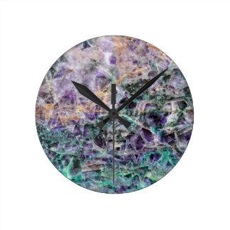 Relógio Redondo textura de pedra amethyst