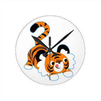 Relógio Redondo Tigre bonito dos desenhos animados pronto para