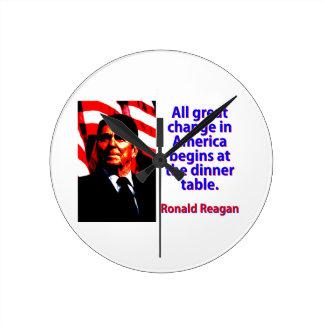 Relógio Redondo Toda a grande mudança em América - Ronald Reagan