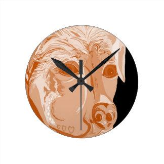 Relógio Redondo Tons do Sepia de Rottweiler