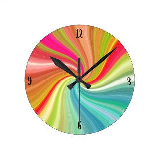 Relógio Redondo Torção do arco-íris do redemoinho da cor com