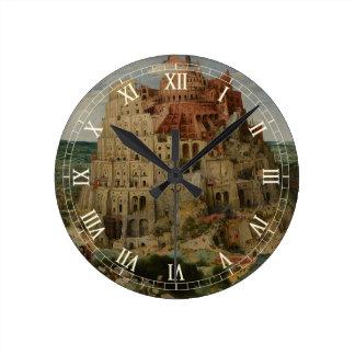 Relógio Redondo Torre de Babel por Pieter Bruegel a pessoa idosa,