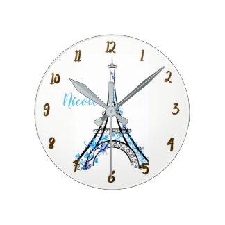 Relógio Redondo Torre Eiffel floral roxa azul de Paris