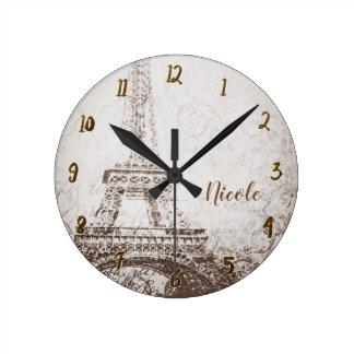 Relógio Redondo Torre Eiffel retro de Paris do vintage