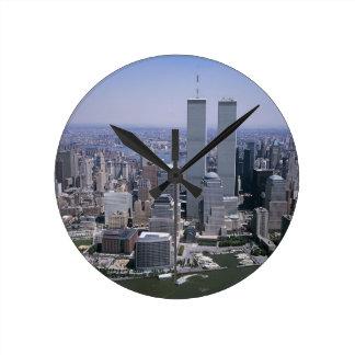 Relógio Redondo Torres gémeas da skyline da Nova Iorque