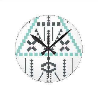 Relógio Redondo Totem de Boho, símbolo étnico, Hippie, asteca,