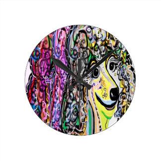 Relógio Redondo Transição da cor da caniche