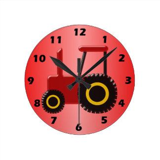 Relógio Redondo Trator vermelho