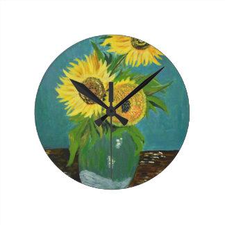 Relógio Redondo Três girassóis em um vaso, Van Gogh