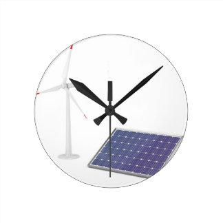 Relógio Redondo Turbina eólica e painel solar