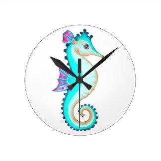 Relógio Redondo Turquesa do cavalo marinho