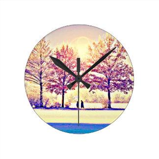 Relógio Redondo Um stroll nas madeiras
