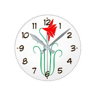Relógio Redondo Uma mostra de flor ELEGANTE