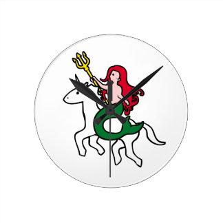 Relógio Redondo Unicórnio do vôo da equitação da sereia