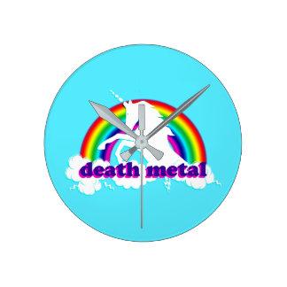 Relógio Redondo Unicórnio e arco-íris engraçados do metal da morte