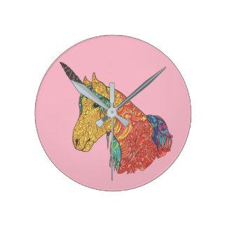 Relógio Redondo Unicórnio mágico do arco-íris