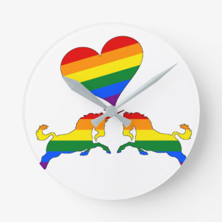 Relógio Redondo Unicórnios do arco-íris