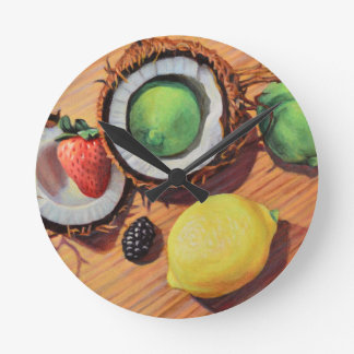Relógio Redondo Unidade do coco do limão do limão de StBerry