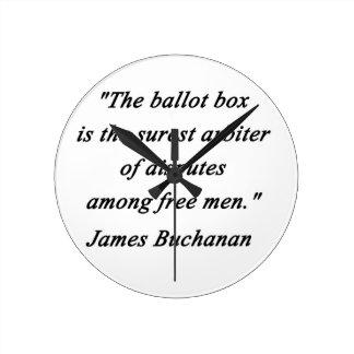 Relógio Redondo Urna de voto - James Buchanan