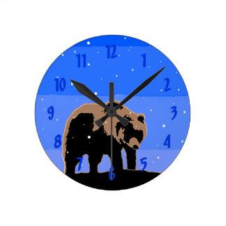 Relógio Redondo Urso de urso no inverno