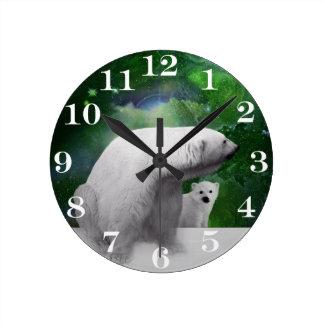 Relógio Redondo Urso polar, filhote e Aurora da aurora boreal