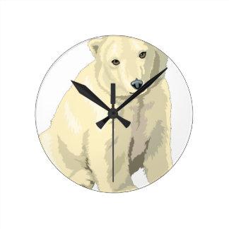 Relógio Redondo Urso polar peluches