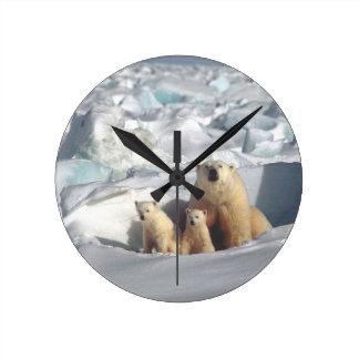 Relógio Redondo Ursos Cubs polares, pulso de disparo ártico da