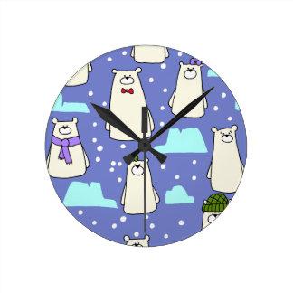 Relógio Redondo ursos polares