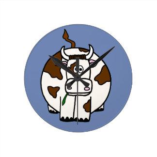 Relógio Redondo Vaca de Brown dos desenhos animados