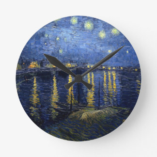 Relógio Redondo Van Gogh: Noite estrelado sobre o Rhone