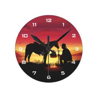 Relógio Redondo Vaqueiro e cavalo no pulso de disparo de parede do