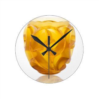 Relógio Redondo Vaso amarelo do redemoinho do art deco