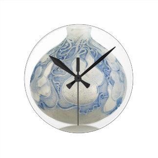 Relógio Redondo Vaso azul do art deco do fosco com fruto