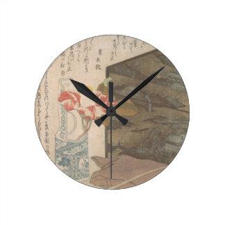 Relógio Redondo Vaso de flor e caixa da laca - chinês