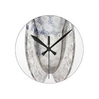 Relógio Redondo Vaso de vidro claro do art deco com flores