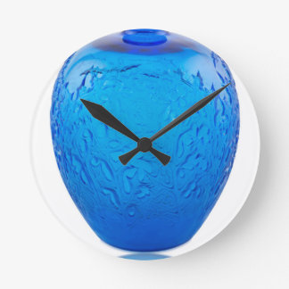 Relógio Redondo Vaso de vidro do art deco azul com folhas