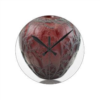 Relógio Redondo Vaso de vidro do pássaro do art deco vermelho