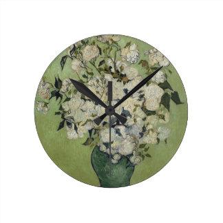 Relógio Redondo Vaso de Vincent van Gogh dos rosas que pintam a
